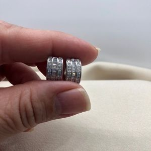 Sterling Silver Diamond Huggie Earrings